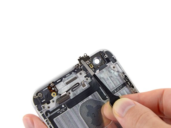Carefully grasp the bracket with a pair of tweezers and remove it from the iPhone.