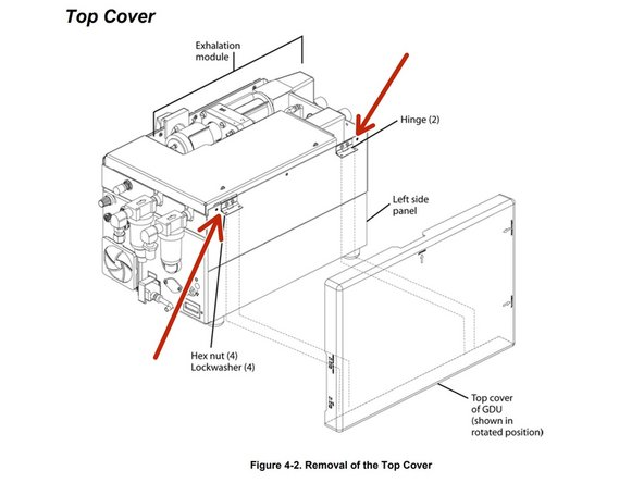 Remove the four hex nuts and lock washers (two at each hinge) that secure the cover to the hinges on the left side of the pneumatic box.