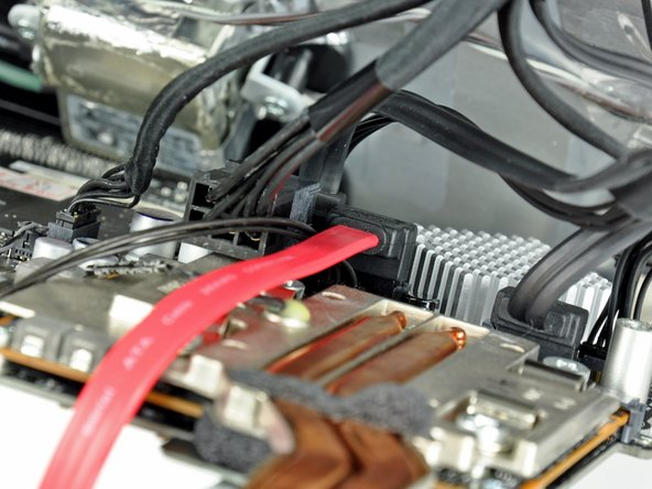 With both SATA cables connected, they should look like the logic board shown in the photo.