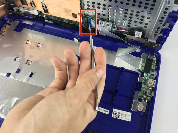 Open the latch and disconnect the I/O-board cable from system board.