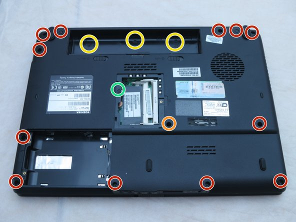 Use a Phillips #1 screwdriver to remove the twelve 6-mm screws that borders the bottom of the laptop.