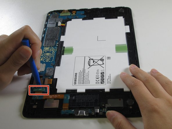 Use a plastic opening tool to pry the two connectors near the charging port from the motherboard.