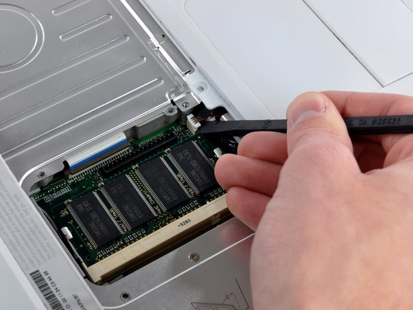Before you can yank the upper case off, you must disconnect the trackpad connector, the blue and white power cable, and speaker cable as described in the next steps. Be especially careful with these cables; never pull directly on the cables, but use a spudger to pry up the connector directly.