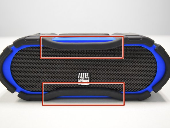 Starting from any side, use your fingers to grab the black rubber sleeve and gently pull away from the speaker on both sides.