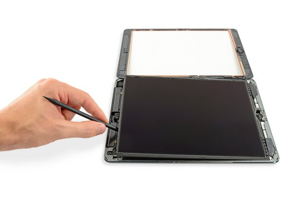 Do not attempt to fully remove the LCD. It is still connected to the iPad by several cables at the home button end. Lift only from the front-facing camera end.