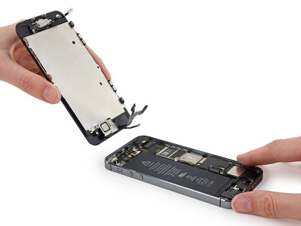 Remove the display and battery, using the repair guide appropriate to your model of iPhone.