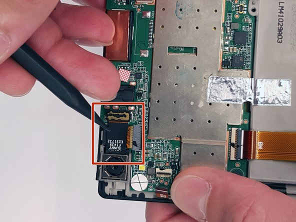 Use a plastic opening tool to gently pry the end of the camera's black ribbon cable (opposite the camera lens) off of the motherboard.