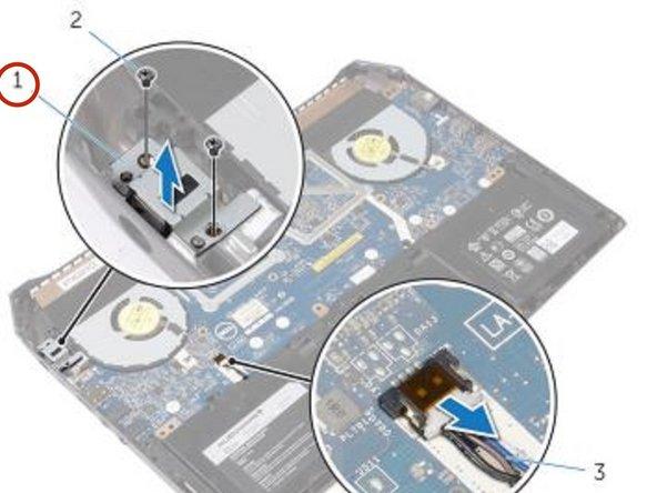 Lift the power-adapter port bracket off the power-adapter port.