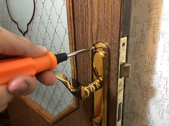 Use a flathead screwdriver to remove the eight 6 mm screws on both handles.