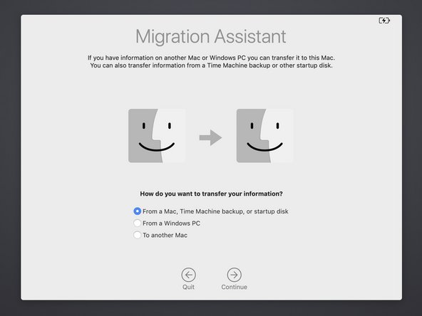 After you are logged out and taken to the Migration Assistant screen, select the first option: transfer From a Mac, Time Machine backup, or startup disk.