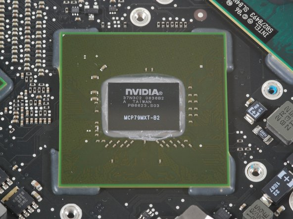 Here are the two Nvidia chips! They occupy a significant amount of the logic board. There's no way both of these puppies could fit in a MacBook Air.