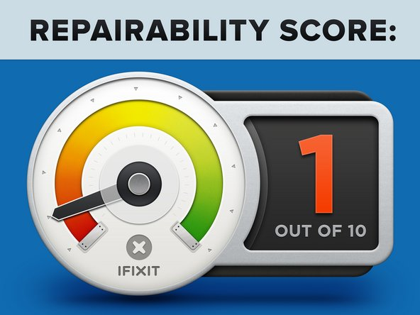 """The MacBook Pro 13"""" with Touch Bar earns a 1 out of 10 on our repairability scale (10 is the easiest to repair):"""