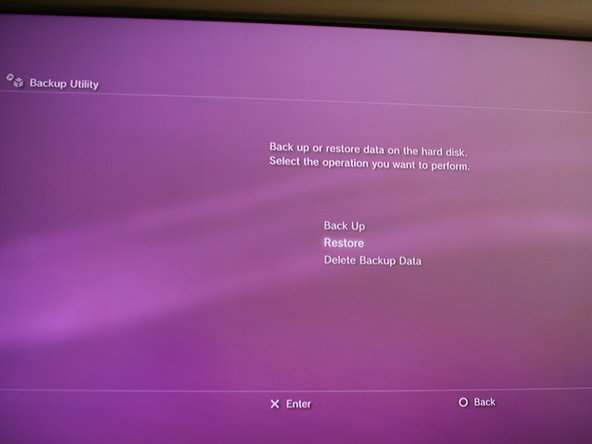 Now, if you want to restore all of your saved game info, connect your USB hard drive that you used to do the back up on.