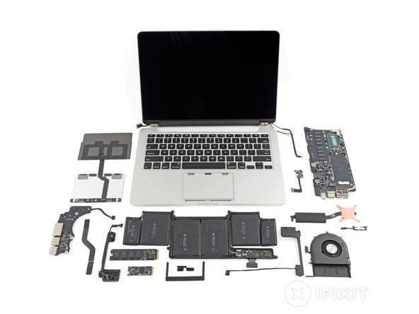 """MacBook Pro with Retina Display 13"""" Late 2013 Repairability Score: 1 out of 10 (10 is easiest to repair)"""
