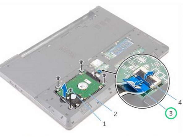 Slide the hard-drive cable into its connector and close the latch to secure the cable.