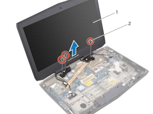 Place the NEW display assembly in position and replace the screws, on the display hinges, that secure the display assembly to the computer base.