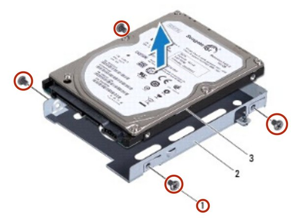 Replace the four screws that secure the hard-drive to the hard-drive bracket.