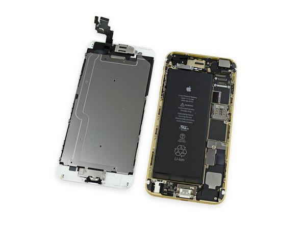 With the display assembly removed, we get our first look at the innards of the iPhone 6 Plus.