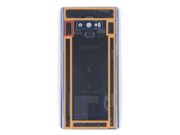 Note that there is more adhesive along the top edge and around the camera bezel than around the rest of the phone.