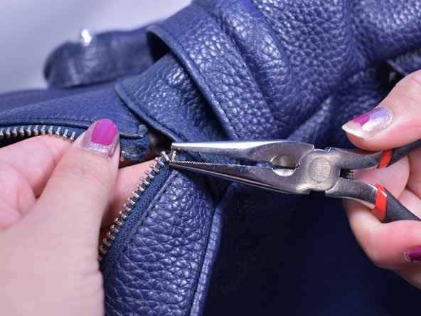 Use pliers to remove at least 4 teeth on each side to leave room for a place to sew.