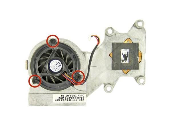 If you are replacing either the fan or heat sink, but not both, remove the three Phillips screws securing the fan to the heat sink, and then remove the fan.