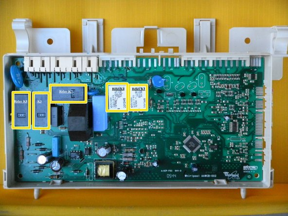 There are three or five relays on the circuit board.  K6 is an OMRON G2RL-1A-E, 12VDC, and rated to switch 16A at 250 VAC.  K1 and K4 are both OMRON G5LE-1-VD, 12 VDC, and rated to switch 10A at 250 VAC.