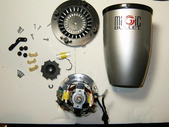 Here is the dissected Magic Bullet. Not a whole lot of parts and fairly simple to get to. The gear is not shown since it did not survive its removal. A royal PITA to remove.