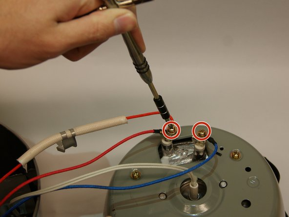 Remove red and blue wires from heating element to fully detach from control module. This is done by removing the screws on the heating element terminals using a Phillips head screwdriver, size PH2.