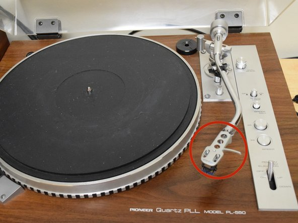 Identify headshell by opening the turntable dustcover.