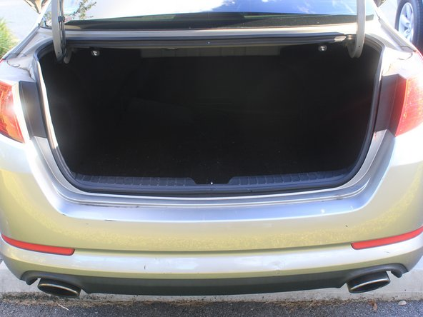 Open the trunk and locate the tail light compartment behind the rear wheel well.