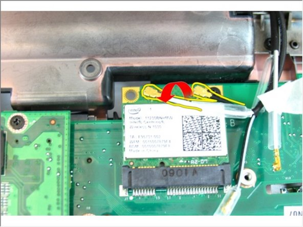Disconnect the wireless local area network (WLAN) antenna cable.