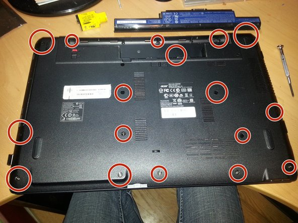 Retrieve all Screw's from the bottom of the laptop and organize them into 2 different sets.