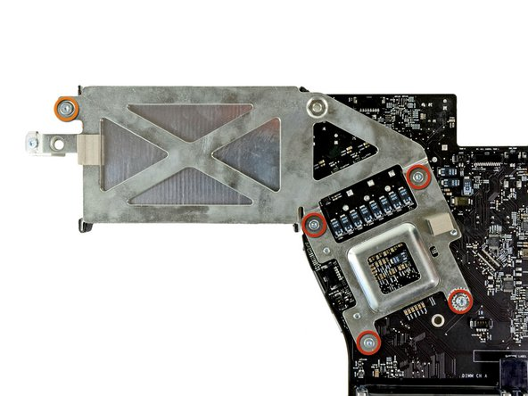 Remove the following five screws securing the heat sink to the logic board: