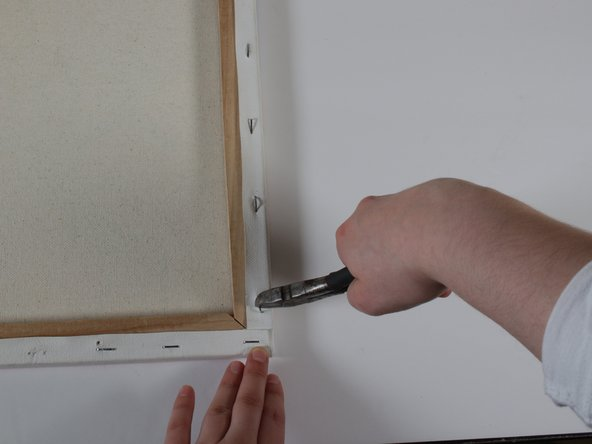 Once the staple is halfway lifted, use the pliers to completely lift the staple from the frame.