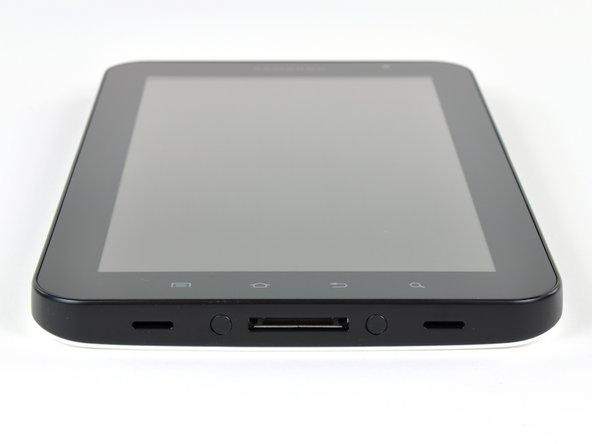 The Galaxy Tab has ports for headphones, the sim card, microSD (support for up to 32 GB), and a USB dock connector.
