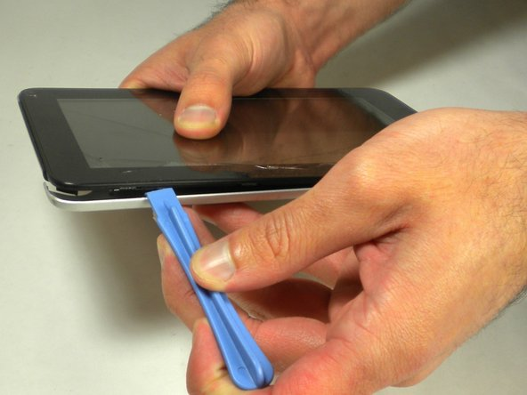 Flip your device so that the long side without the buttons is facing you.