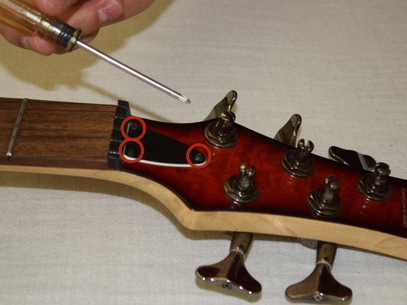Locate the screws covering the truss rod.