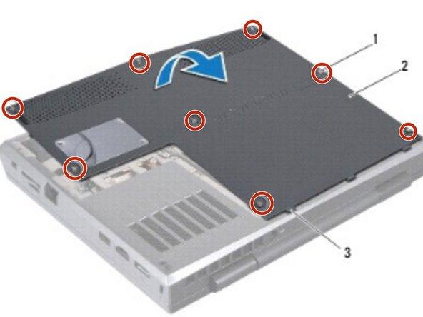 Afloje los ocho tornillos que aseguran la cubierta de la base a la base de la computadora.