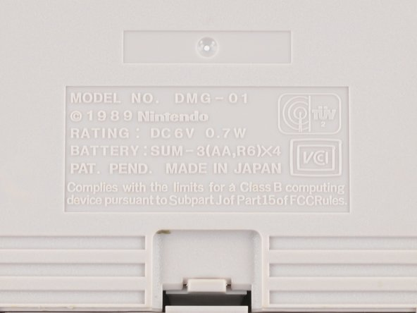 Denoted by model number DMG-01 (which stands for Dot Matrix Game), the Game Boy can be powered by either four AA batteries or an AC power adapter, the latter of which has unsurprisingly disappeared somewhere into the clutter abyss.