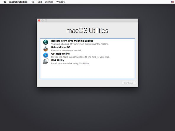 """Select """"Reinstall macOS"""" from the menu and press [enter] or click """"Continue."""""""