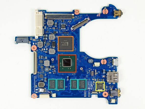 Front and rear side of the motherboard: