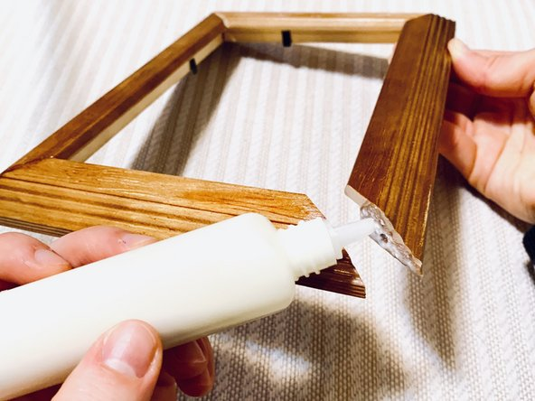 Using carpenter glue, glue the joint(s) back together and apply pressure when pressing sides together using your hands.