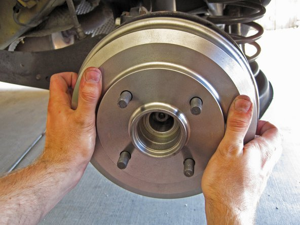 Place the brake drum back on the hub.