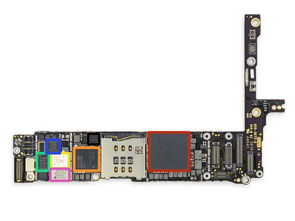 Let's identify some ICs on the front side of the logic board: