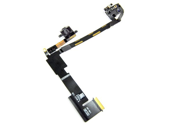 The front-facing camera assembly includes the camera, headphone jack, and microphone.