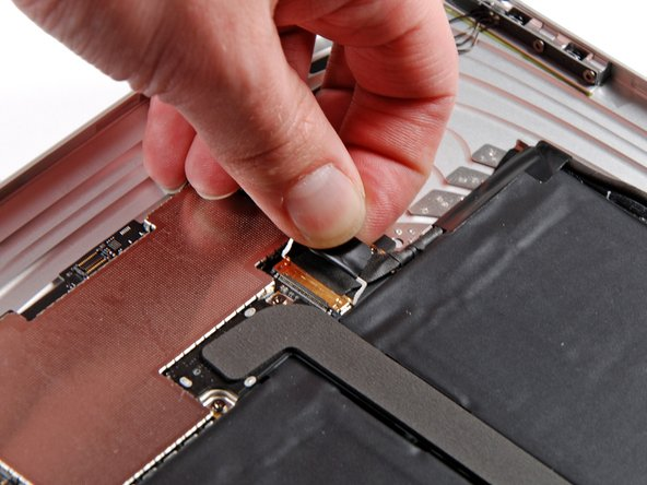 Disconnecting the display data cable.