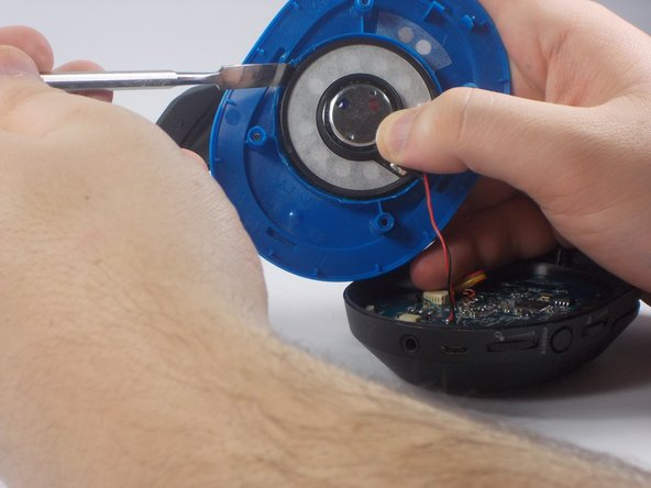 Using metal prying tool, gently slide the tool between the speaker and the blue plastic holder to break up the adhesive.