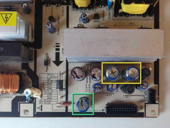 Inspect all electrolytic capacitors on the power supply board and replace any that are bulging or leaking.