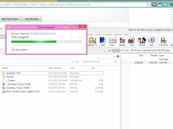 Unzip the downloaded BIOS Upgrade
