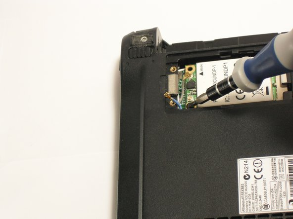 Remove the single 3.9 mm Phillips #1 screw from the bottom left of the wireless card.